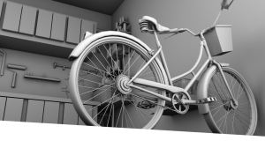 Bicycle in the Garage At An Angle